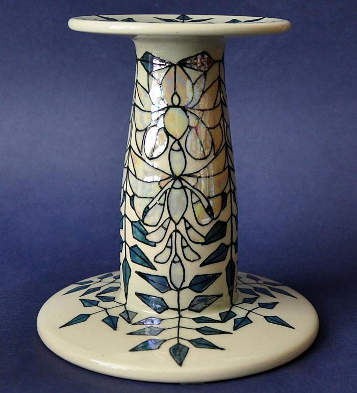 Wisteria Lustre Candlestick By Sally Tuffin Dennis Chinaworks  Numbered Edition