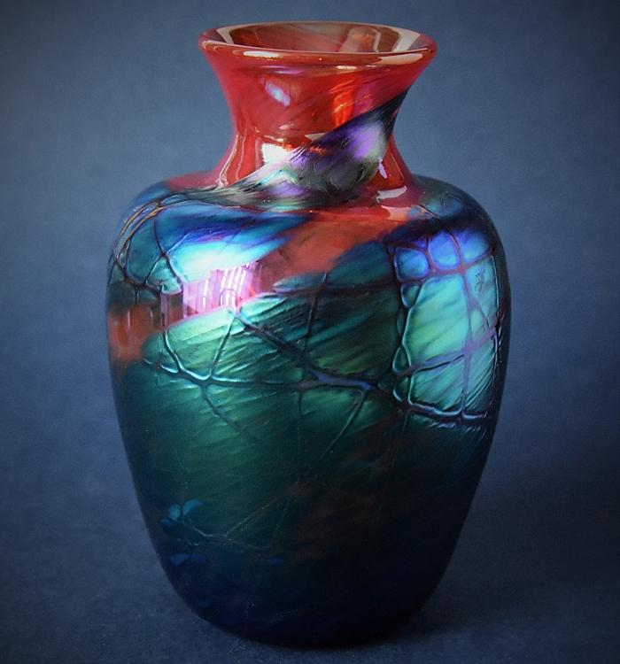 Blue and Red Vase Y6 Kayleigh Young Glass