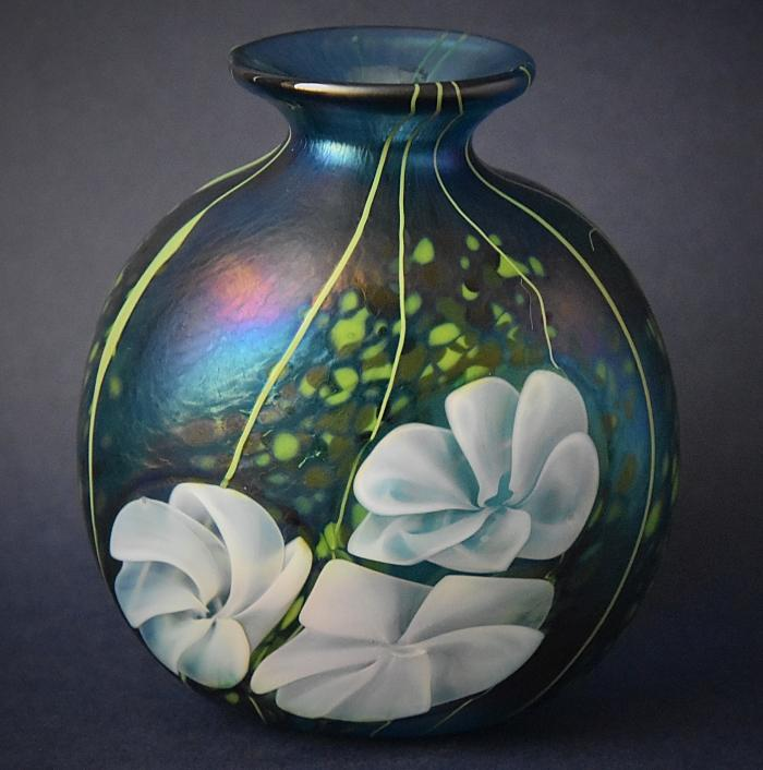 Blue-green Vase With White Flowers KAY9 Kayleigh Young Glass