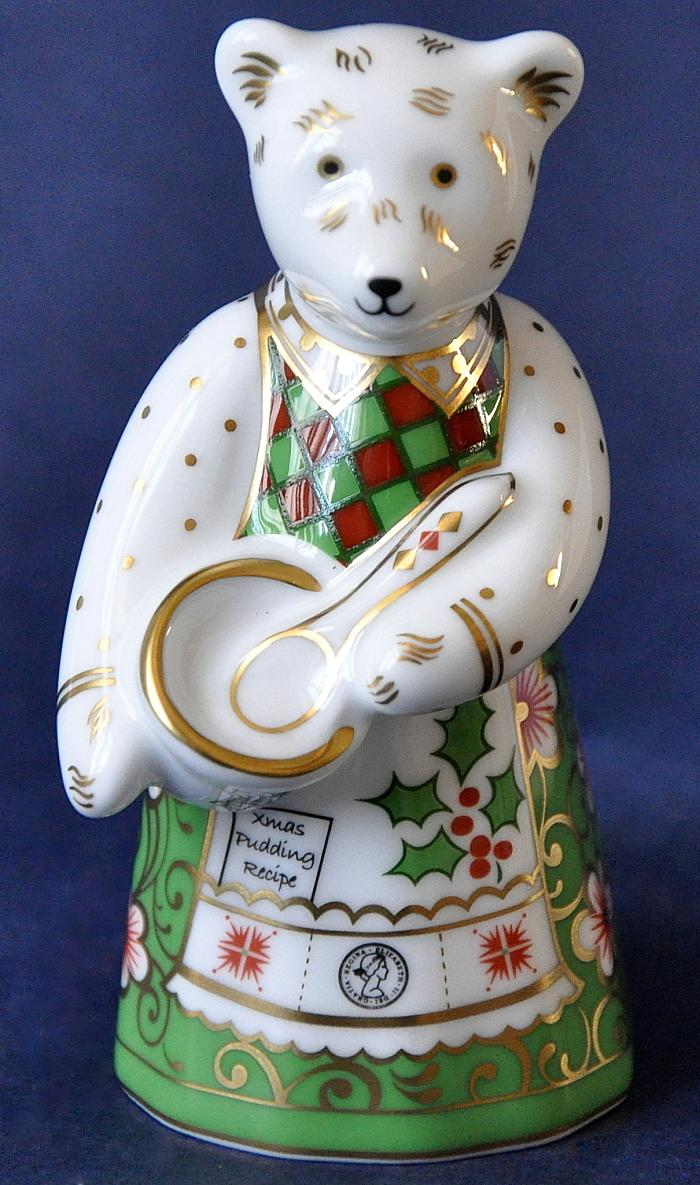 Crown Derby Christmas Cook Bear