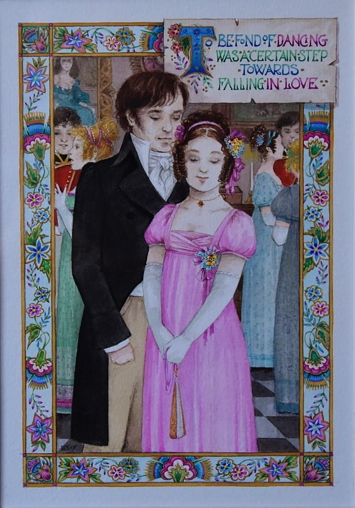 'To be fond of dancing' Pride and Prejudice inspired by Jane Austen Watercolour by Debby Faulkner-Stevens