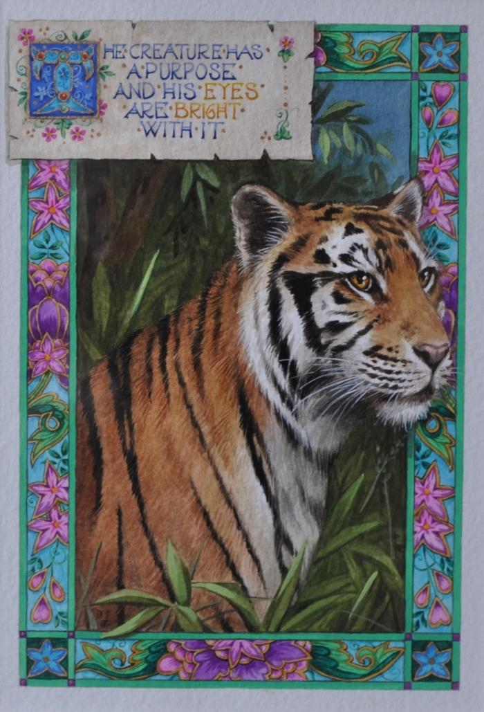 'The Creature Has a Purpose Tiger' Inspired by John Keats Watercolour by Debby Faulkner-Stevens