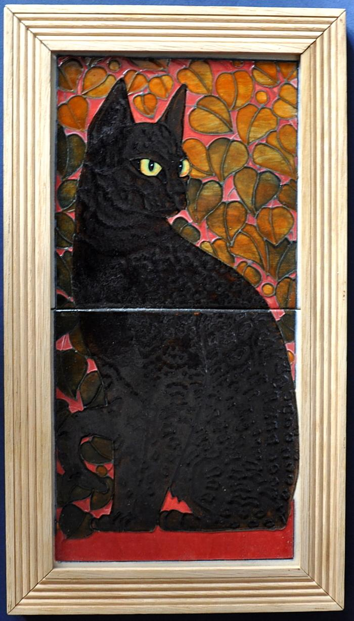 Black Cat Tile Panel By Dennis Chinaworks Trial 1