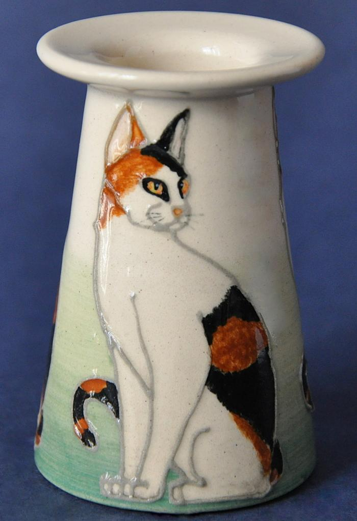 Dennis Chinaworks Mini Black and Ginger Cat Vase Sally Tuffin  Numbered Edition