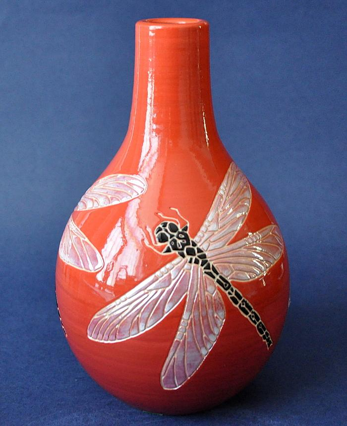 Dennis Chinaworks Dragonfly SF Bottle Lustred Sally Tuffin