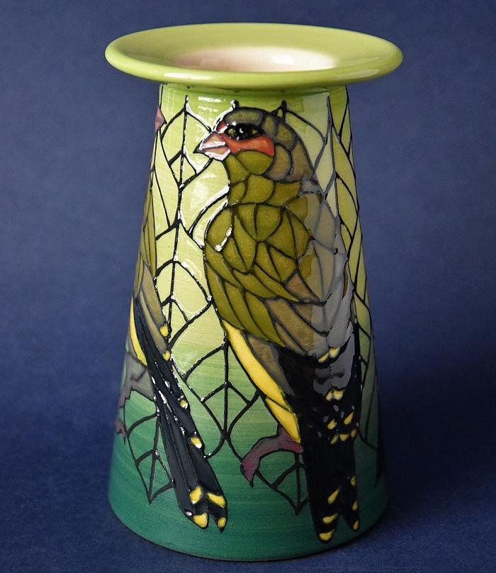 Dennis Chinaworks Greenfinch 5 inch Conical Vase Sally Tuffin