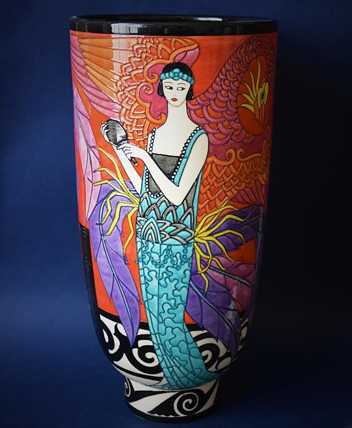 Dennis Chinaworks Phoenix L Deco Vase A Limited Edition of 20 by Sally Tuffin