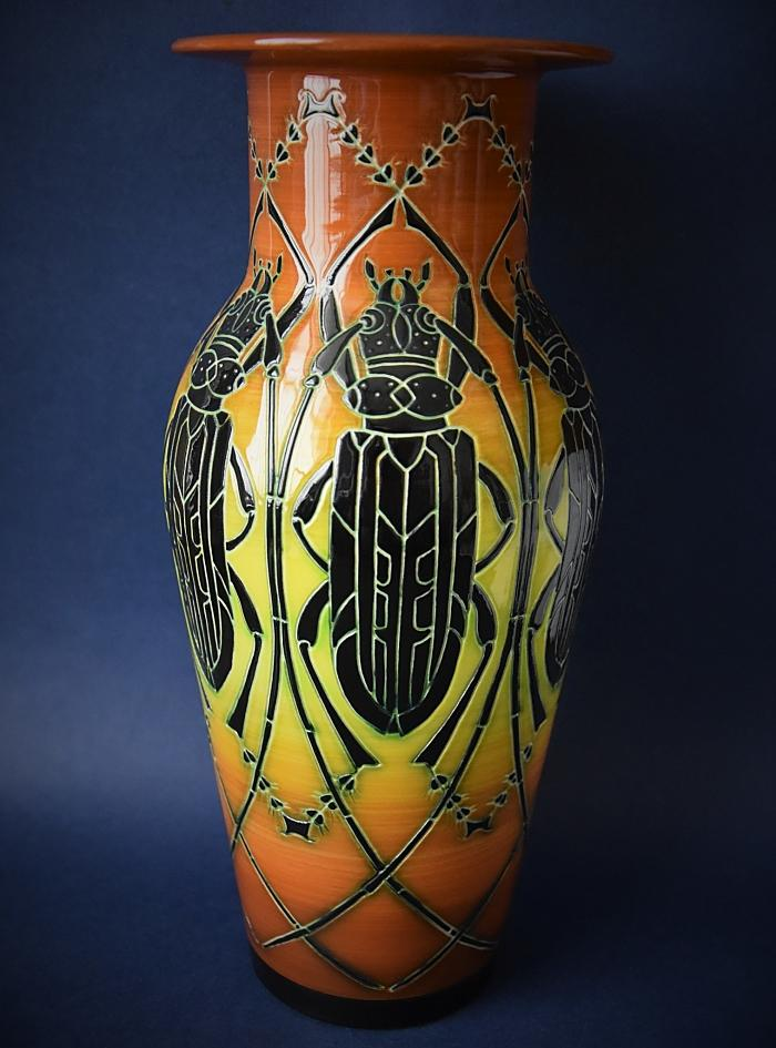 Dennis Chinaworks Beetle Medium Etruscan Vase A Limited Edition of 25 by Sally Tuffin