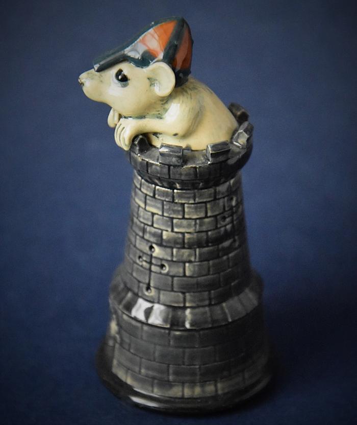 Dennis Chinaworks Mouse Chess Piece Black Castle