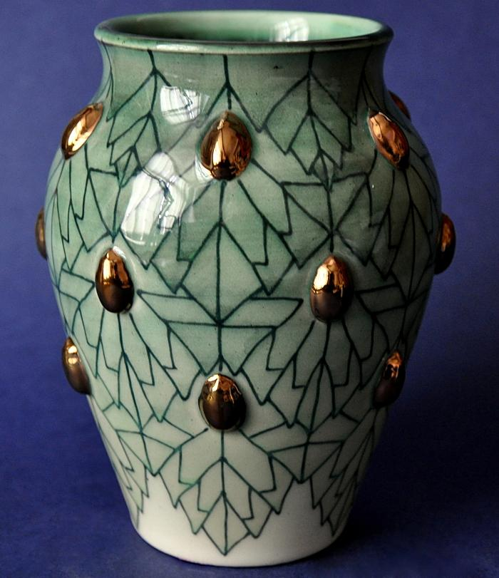 Dennis Chinaworks Nettle and Gold Beetle Vase Sally Tuffin