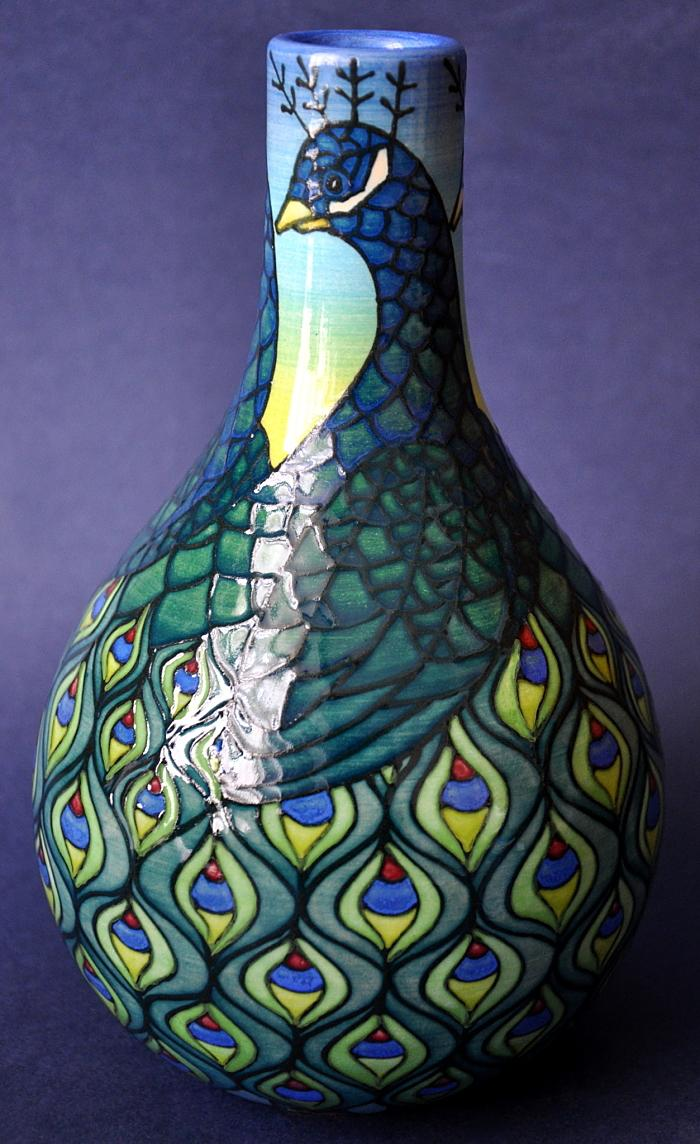 Dennis Chinaworks Peacock Bottle Sally Tuffin