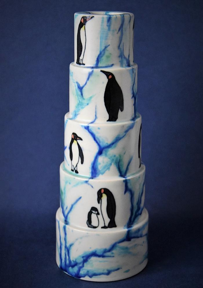 Dennis Chinaworks Penguin Sidestep Candlestick Sally Tuffin A Numbered Edition
