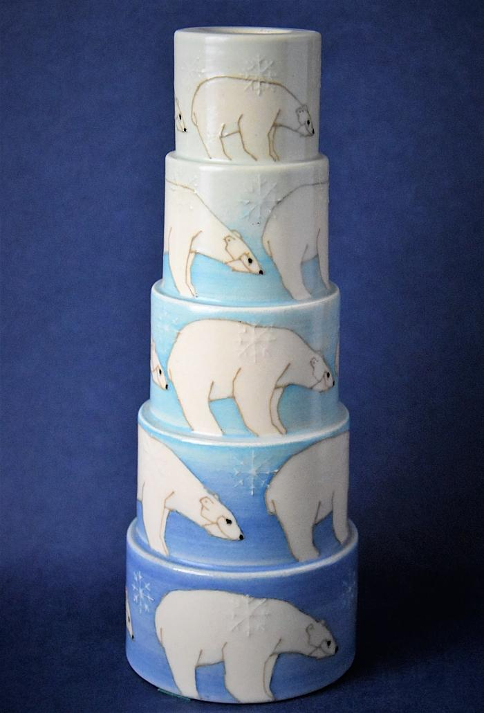 Dennis Chinaworks Polar Bear Sidestep Candlestick Sally Tuffin A Numbered Edition