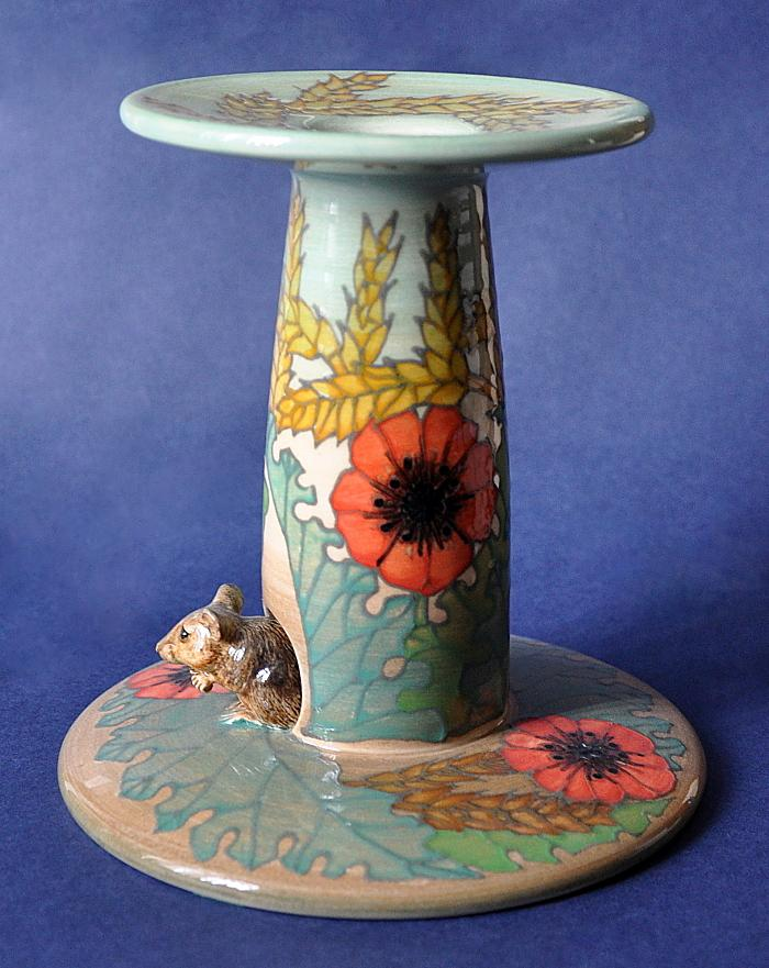 Dennis Chinaworks Poppies and Corn Candlestick Sally Tuffin