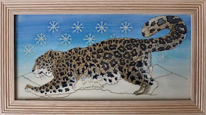 Dennis Chinaworks Snow Leopard Tile Plaque