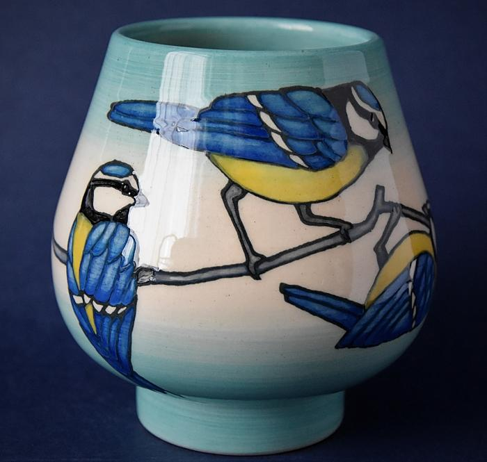 Dennis Chinaworks Blue Tit XS Bud Vase Sally Tuffin