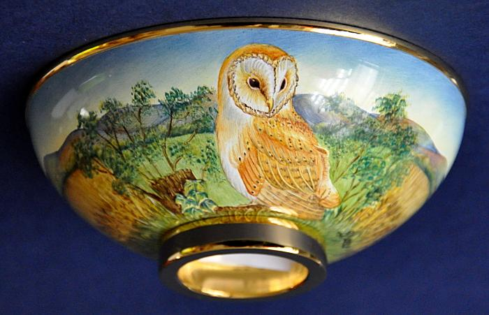 Elliot Hall Enamels Barn Owl Bowl AB1-BO