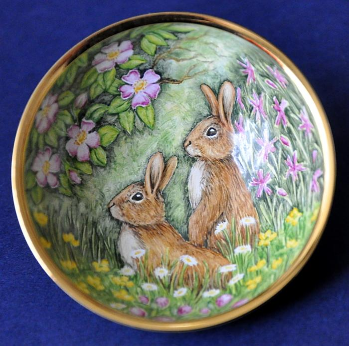 Elliot Hall Enamels Summer Rabbits Bowl AB2-SR