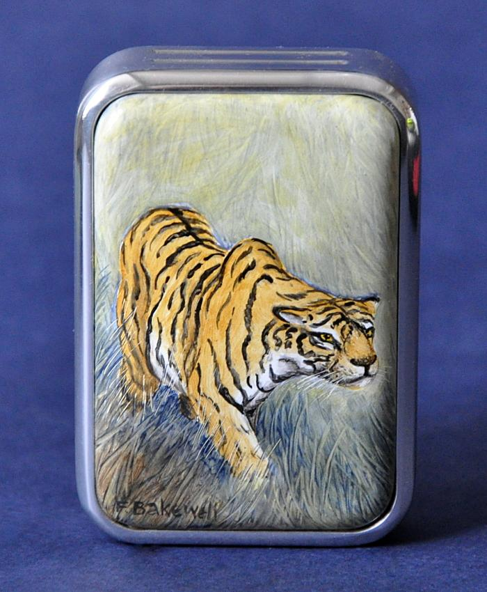 Elliot Hall Enamels Tiger Paperweight APW T
