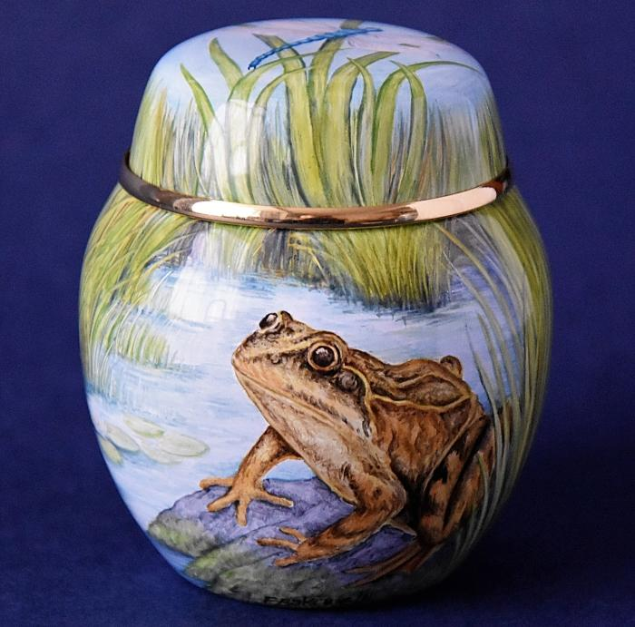 Elliot Hall Enamels Frogs Ginger Jar SH-F