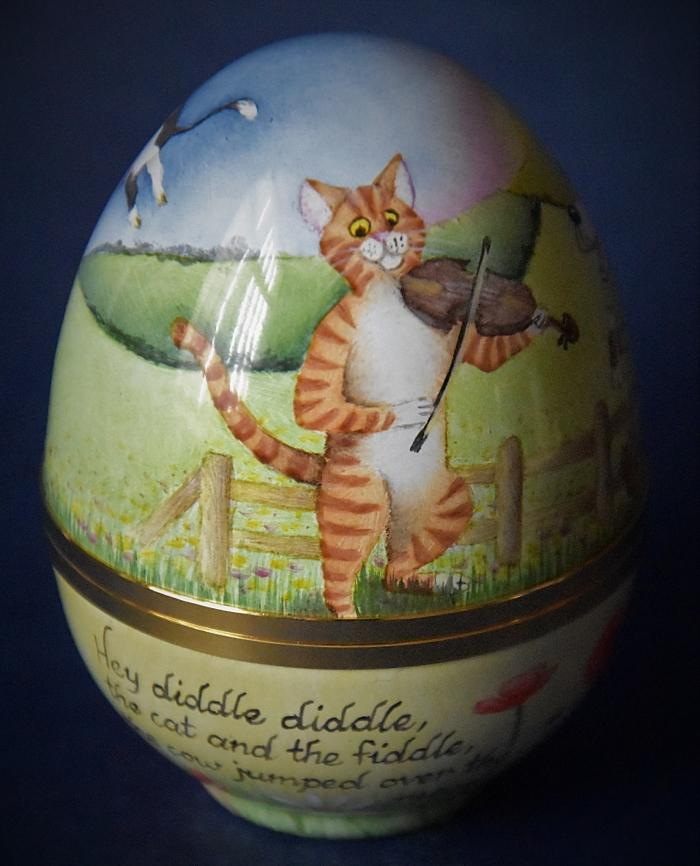 Elliot Hall Enamels Nursery Rhyme Egg Hey Diddle Diddle by E. Todd £280.00 approx. 7cms in height Edition of 75