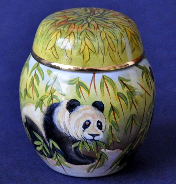 Elliot Hall Enamels Panda Ginger Jar S-PD