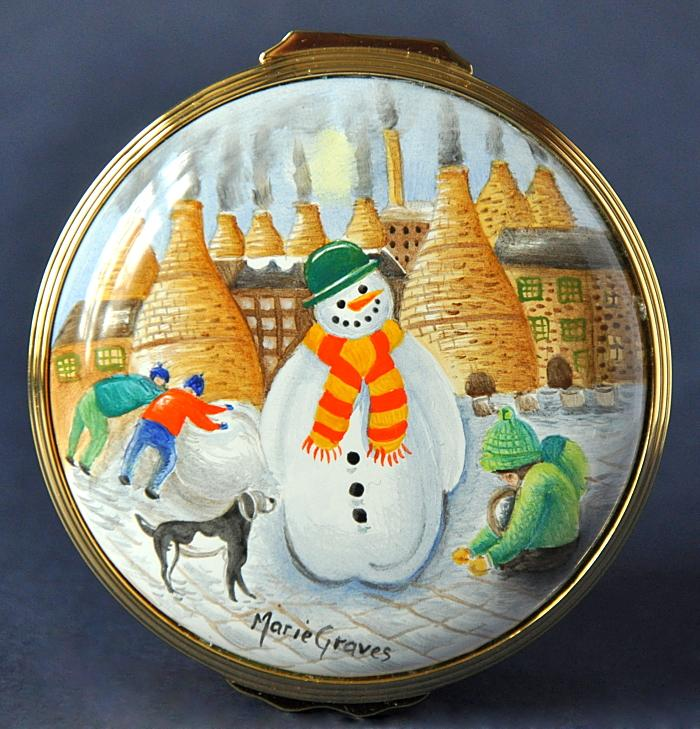 Elliot Hall Enamels Snowmen Box