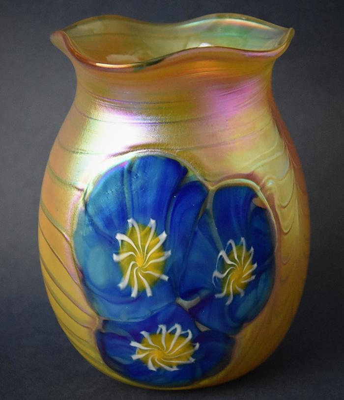Fluted Gold Vase With Blue Morning Glory Flowers KAY6 Kayleigh Young Glass