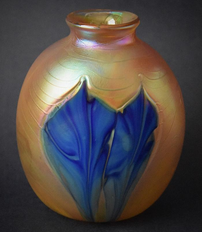 Gold Vase With Blue Flowers KAY5 Kayleigh Young Glass
