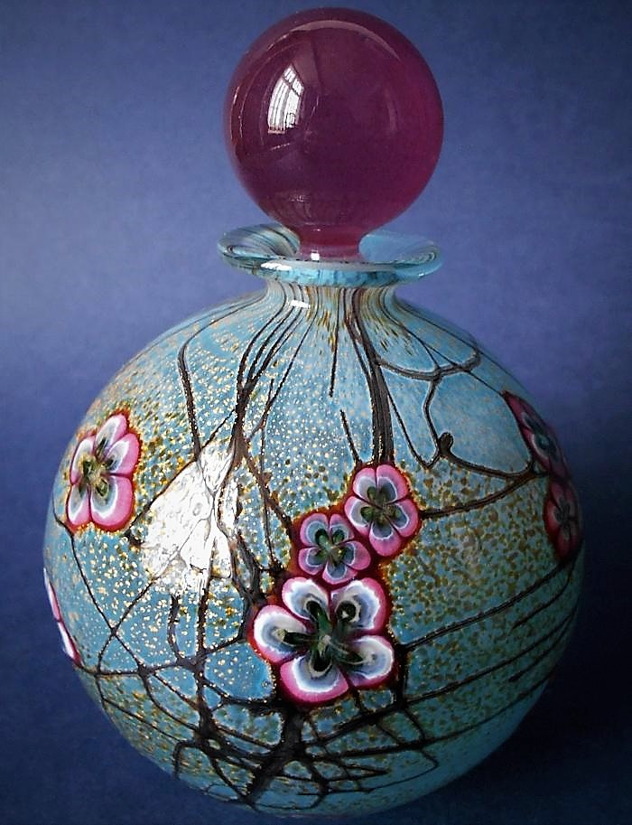 Isle of Wight Studio Glass Blossom Tree  Blue Perfume Bottle