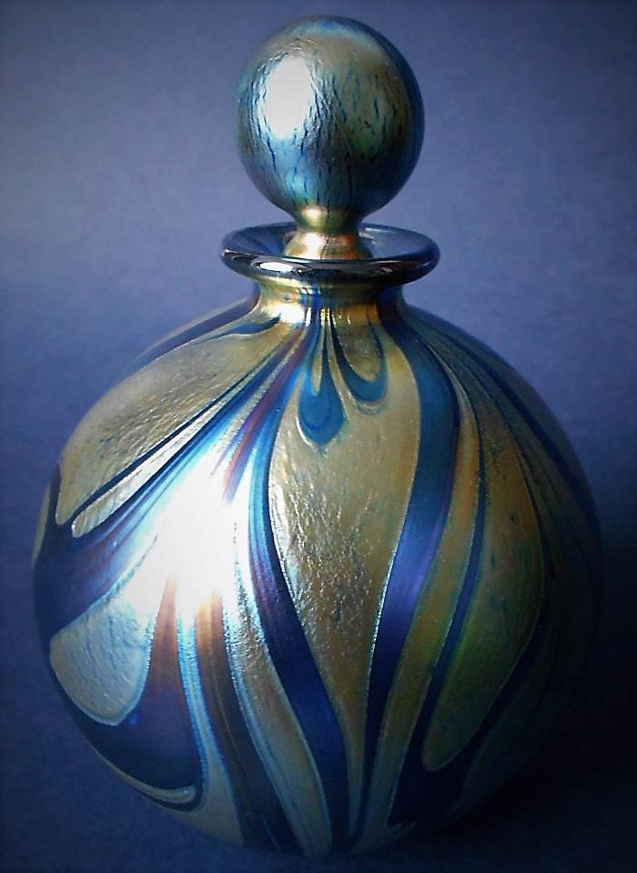 Isle of Wight Studio Glass Blue Vine  Large Perfume Bottle