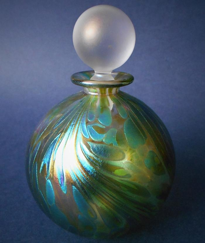 Isle of Wight Studio Glass Featherspray Fumed  Blue Green Perfume Bottle Large