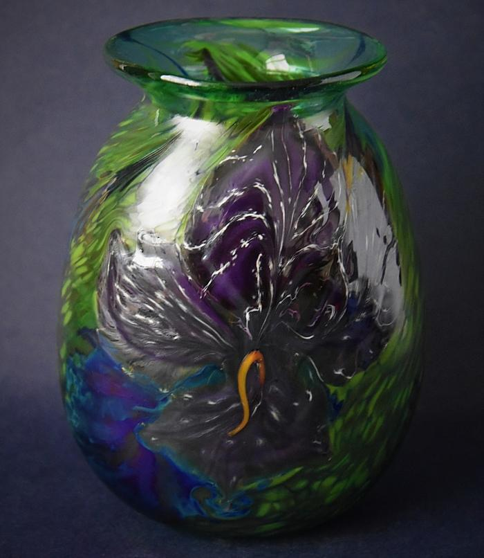 Green Vase With Dark Purple Flowers Y13 Kayleigh Young Glass