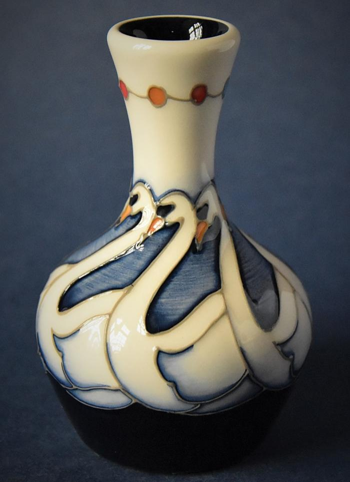 Moorcroft Pottery 7 Swans Swimming 2/4 Kerry Goodwin  Open Edition