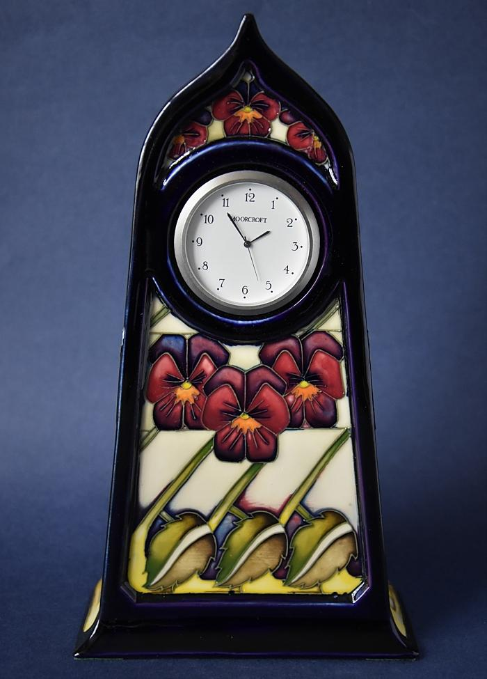 Moorcroft Pottery Dame's Pansy CL4 Clock Kerry Goodwin Open Edition