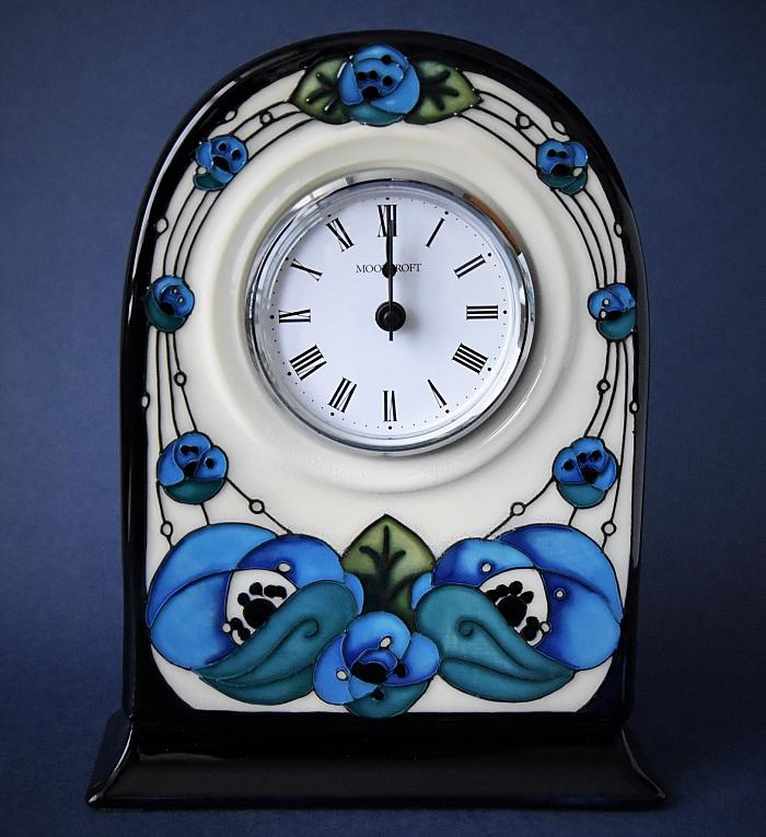 Moorcroft Pottery CL6 Clock Rennie Rose Blue Rachel Bishop An Open Edition