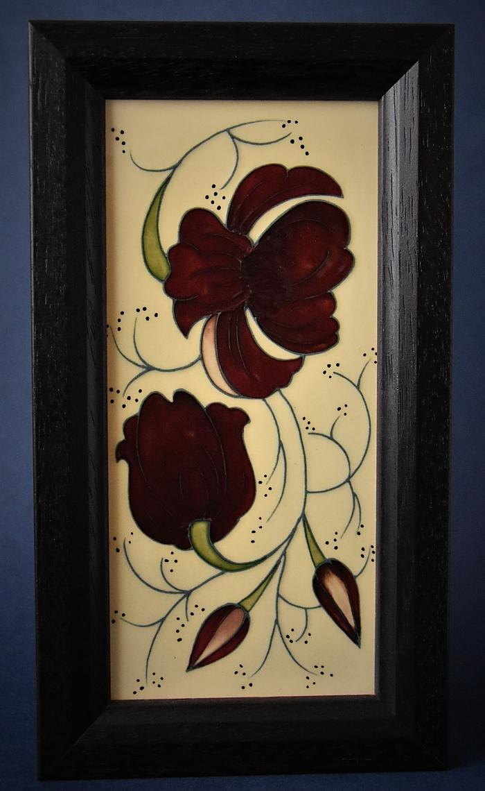 Moorcroft Pottery Chocolate Cosmos Plaque PLQ 5 Rachel Bishop  Open Edition