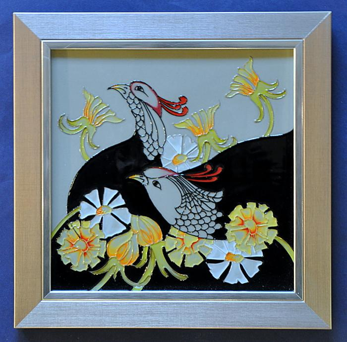 Moorcroft Pottery Courting Birds PLQ8 Plaque Rachel Bishop