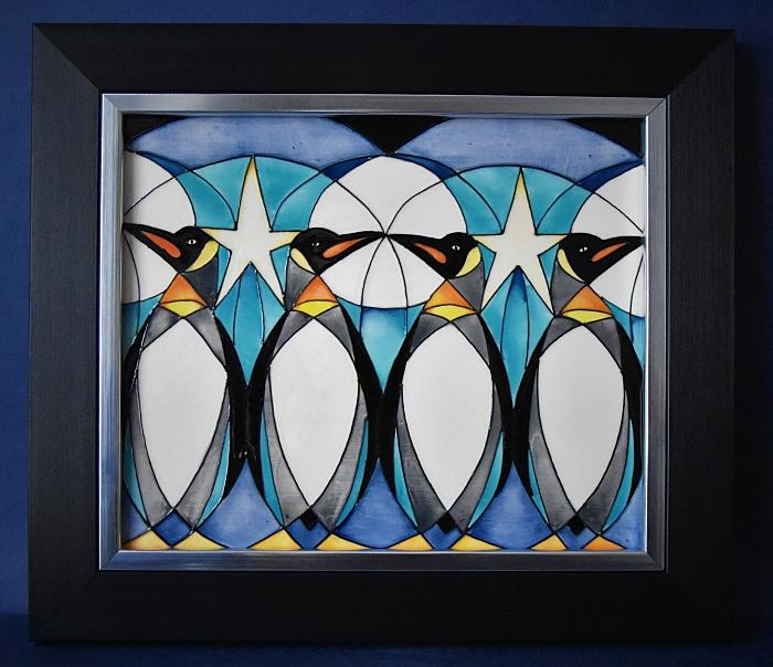 Moorcroft Pottery PLQ10 Penguin Frieze Plaque Nicola Slaney An Open Edition