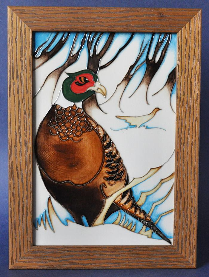Moorcroft Pottery Pheasants of Snow Hollow PLQ11 Emma Bossons Open Edition