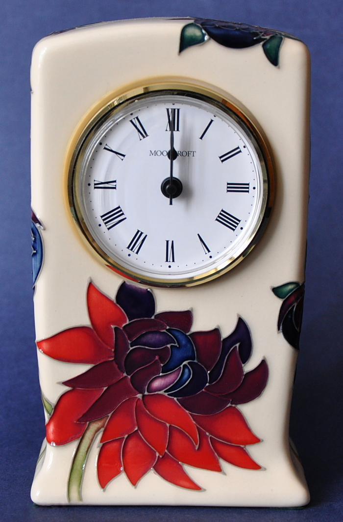 Moorcroft Pottery Ruby Red Cl1 Clock Emma Bossons Open Edition