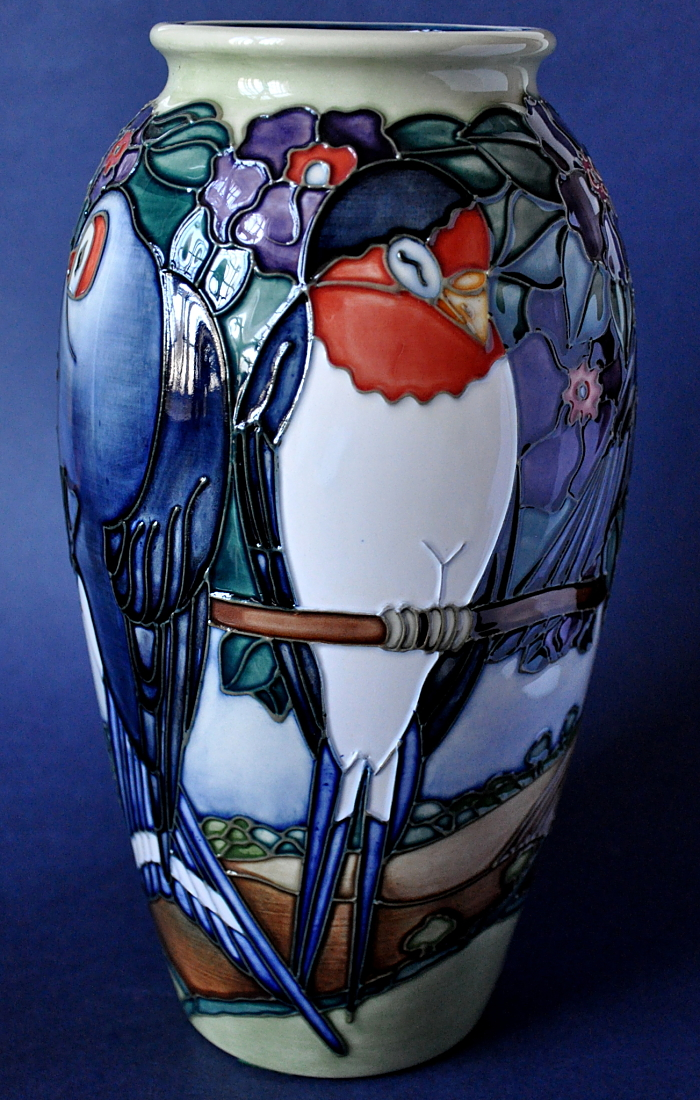 Moorcroft Pottery 393/10 Swallows Limited Edition of 500