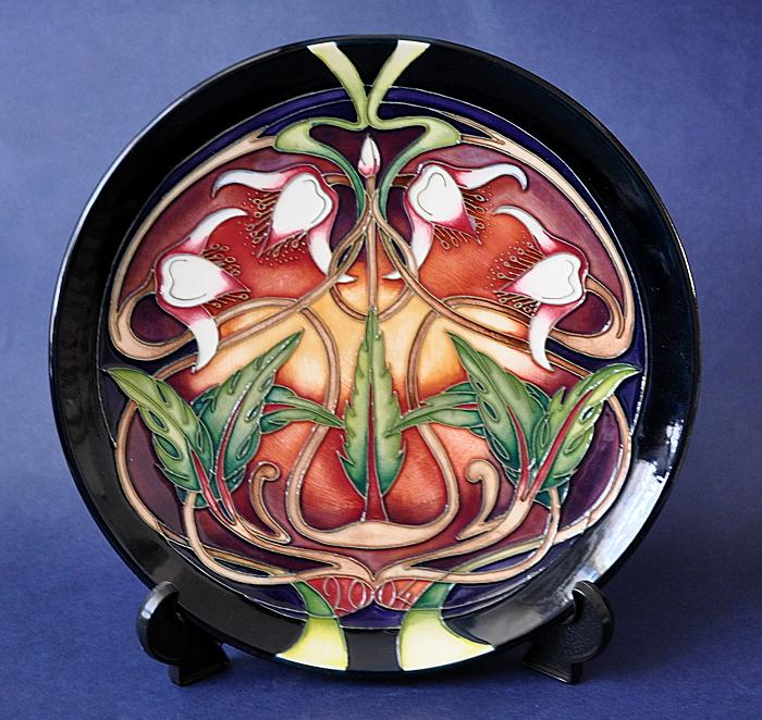 Moorcroft Pottery Swan Orchid 2004 Year Plate