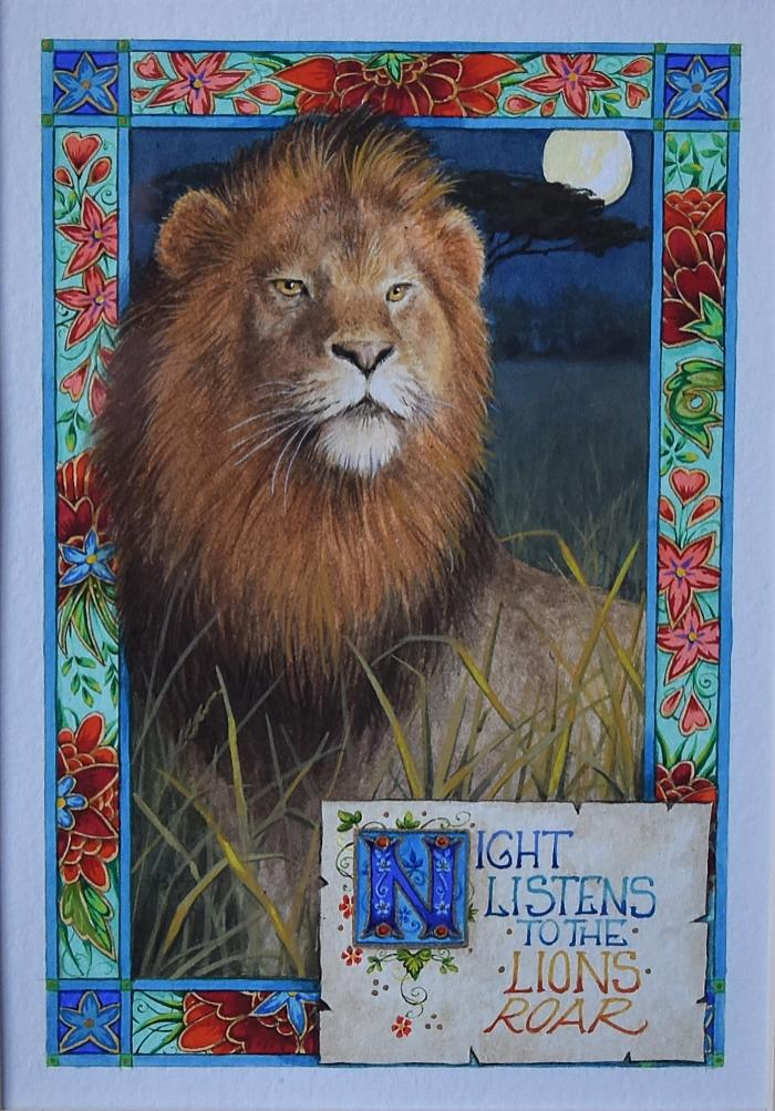 'Night listens' Lion Inspired by Lord Byron Watercolour by Debby Faulkner-Stevens