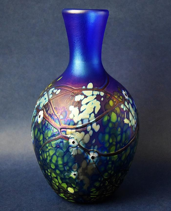 Richard Golding Station Glass Blue Narrow-Necked Vase With White Cane Flowers