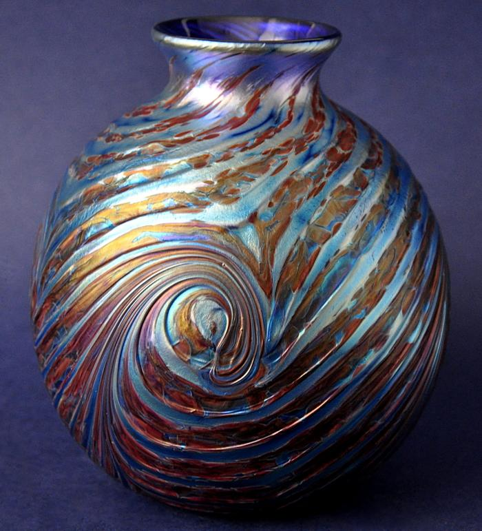Richard Golding Station Glass Blue Ribbed Vase