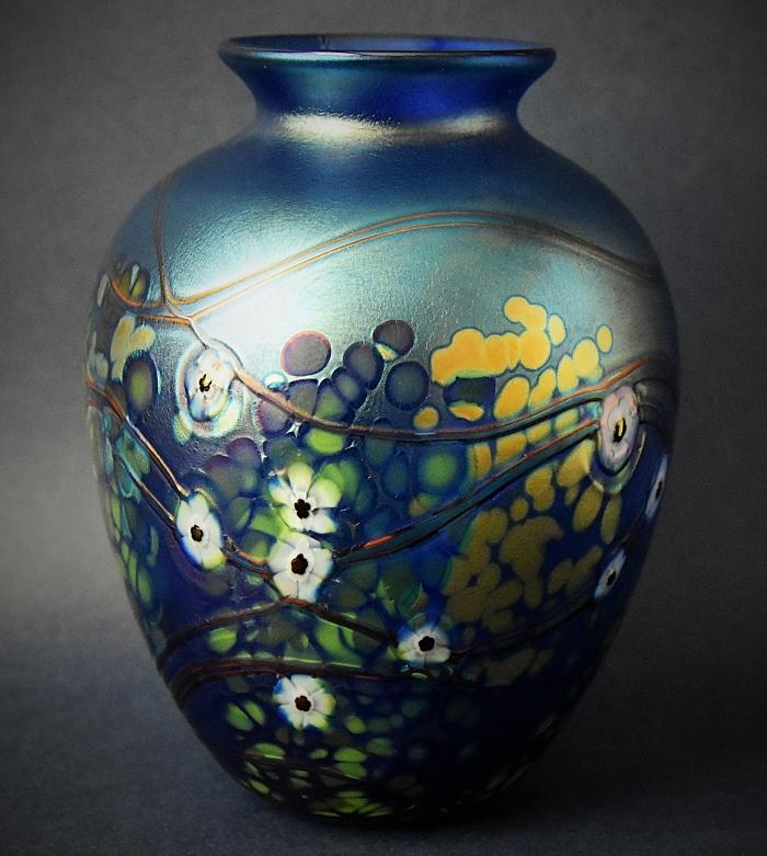 Richard Golding Station Glass Blue Vase With White Cane Flowers