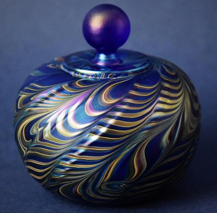 Richard Golding Station Glass Blue and Yellow Folded Rim Perfume