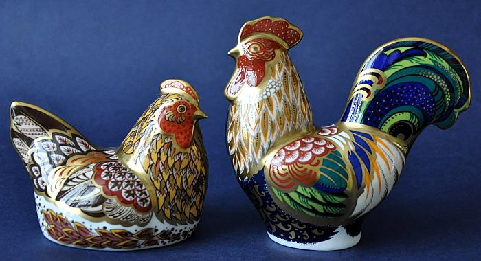 Royal Crown Derby Derbyshire Hen and Cockerel (pair)  Limited Edition of 350 Pairs