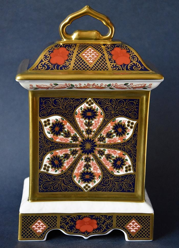 Royal Crown Derby Old Imari Solid Gold Band Mantle Clock